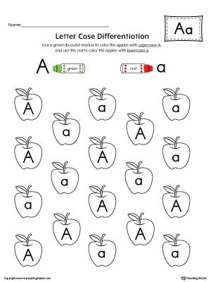 letter case recognition worksheet letter a classroom preschool worksheets kindergarten. Black Bedroom Furniture Sets. Home Design Ideas