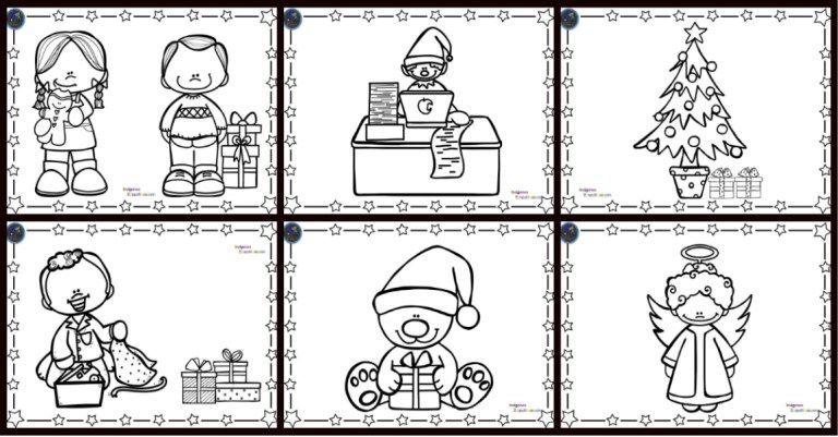 Coleccion De Fichas Para Colorear La Navidad Fichas Aprender A Escribir Dibujo De Escuela