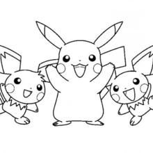Pikachu and friends coloring page   Pokemon ideas   Pinterest ...