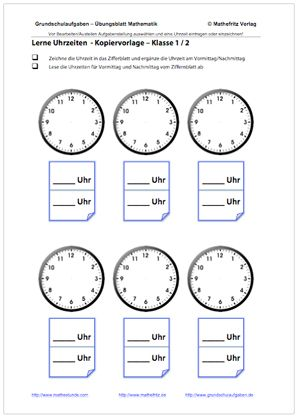 Blanko Arbeitsblatt Uhrzeiten Lernen Zifferblatt Uhren