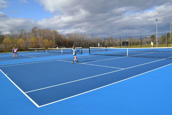 Us Open Blue Tennis Court With Olympic Blue Surround Tennis Court Tennis San Diego Basketball