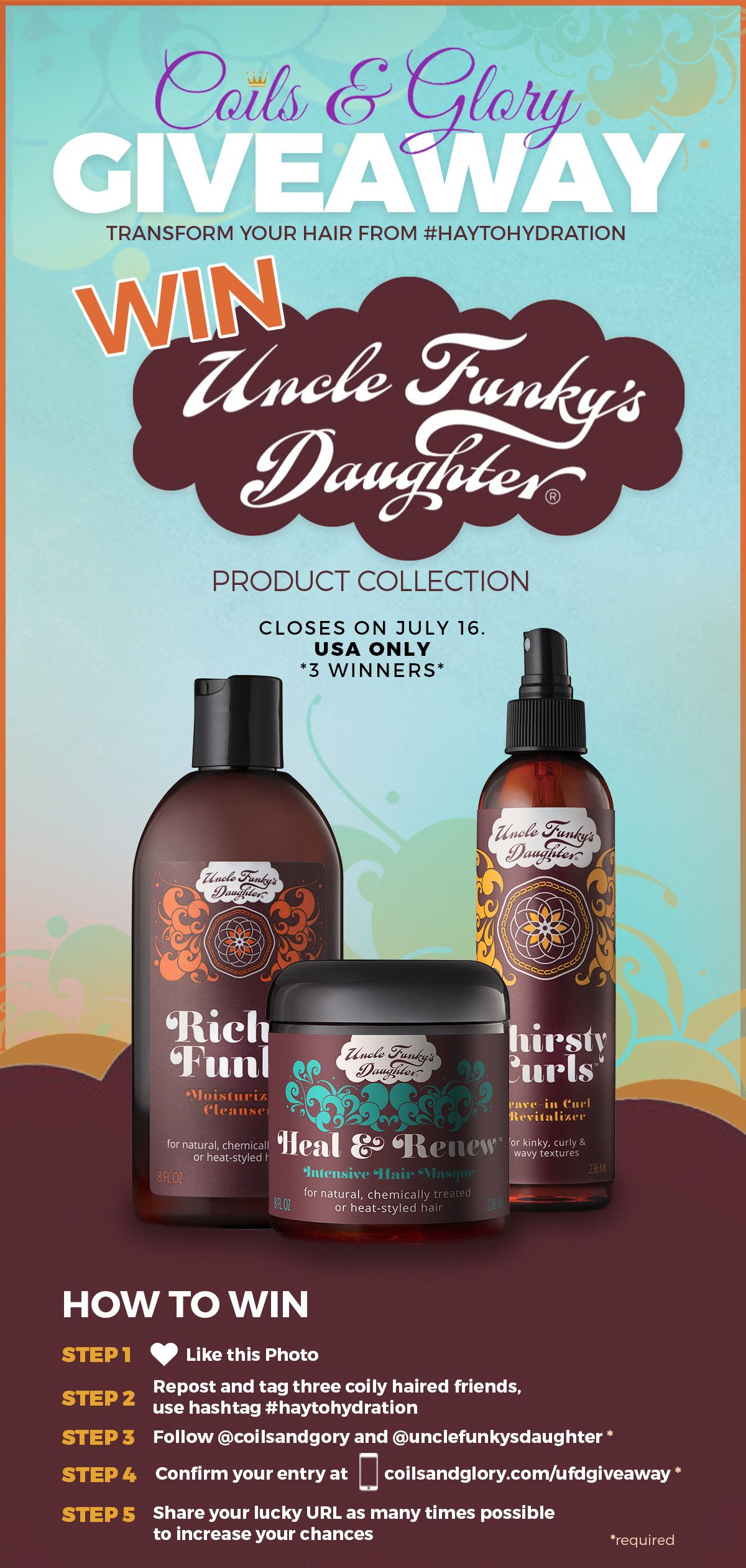 Pin by ellamary on coils u glory dry hair products giveaway
