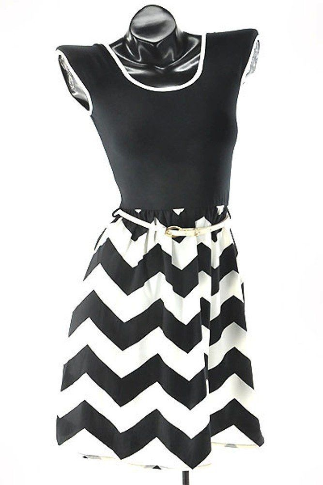 Womens Black White Chevron Print Belted Mini Dress Dramatic And