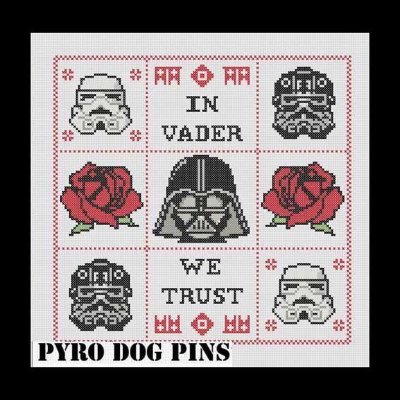 In Vader We Trust Pattern/PDF - \'Star Wars\' Cross Stitch Sampler ...