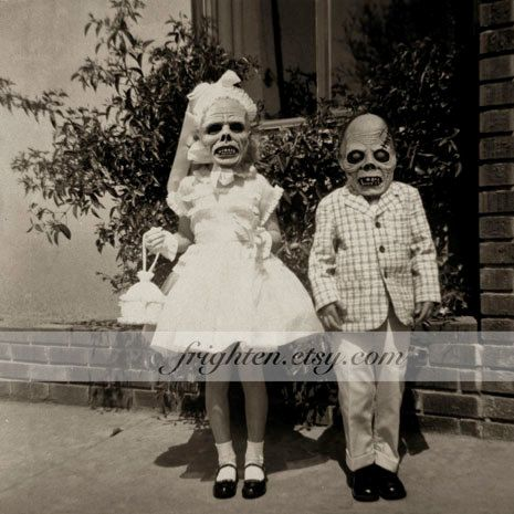 Creepy Halloween Decor Altered Vintage Photography Kids With