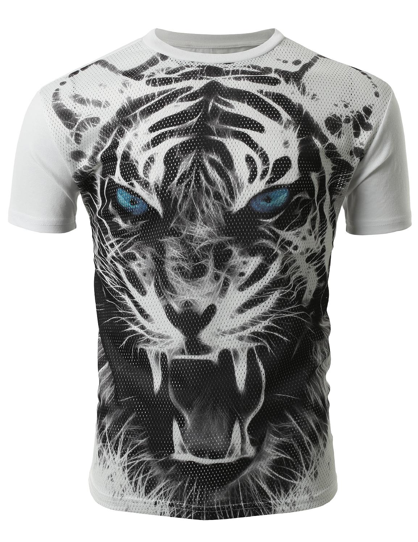 2c444d07c7b SMITHJAY Mens Hipster Hip-Hop Growling Black   White Tiger Print Mesh T- Shirt  smithjay
