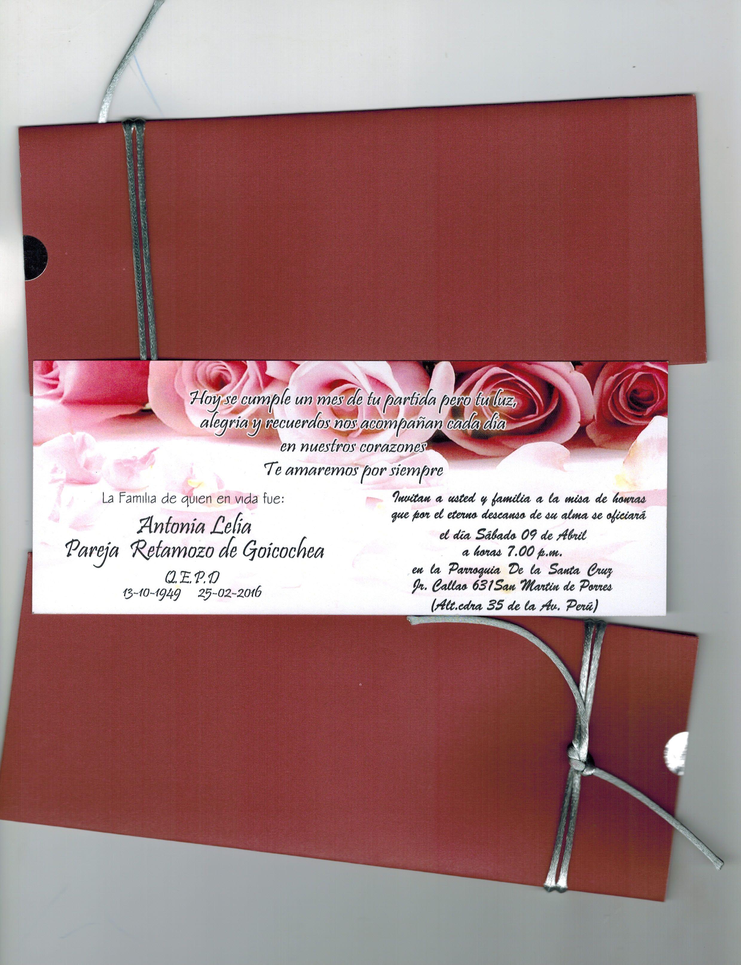 Tarjeta De Invitación A Misa De Difuntos Tarjetas De