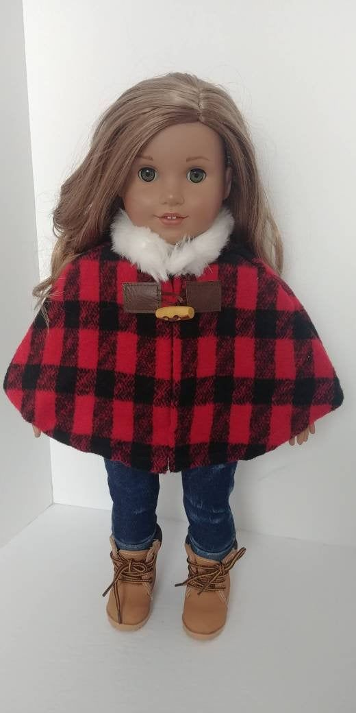 Fits like American girl doll clothes. 18 inch doll clothing.18 inch doll clothes. Plaid cape #girldollclothes