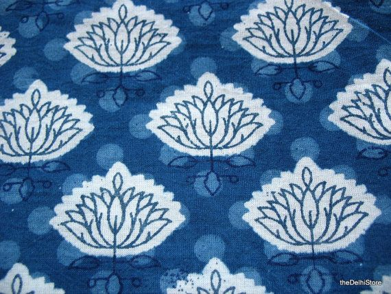 Indian Fabric Stamped Vegetable Dye Cotton by theDelhiStore