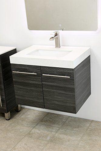 Windbay 24 Wall Mount Floating Bathroom Vanity Sink Set Vanities Dark Grey