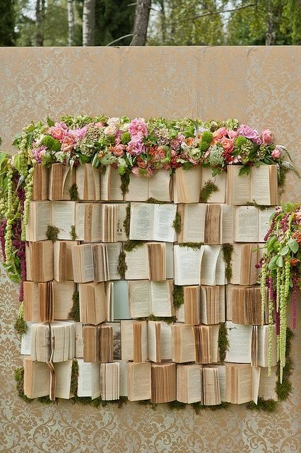 Whimsical Photo Booth Backdrop Idea For The Literary Couple From The Marrygrams Blog Ceremony Backdrop Book Backdrop Wedding Book