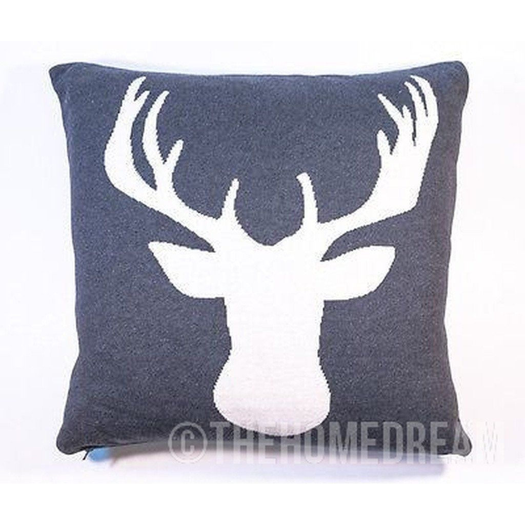 Stagdeermoose charcoal u white knitted cotton square cushion cover