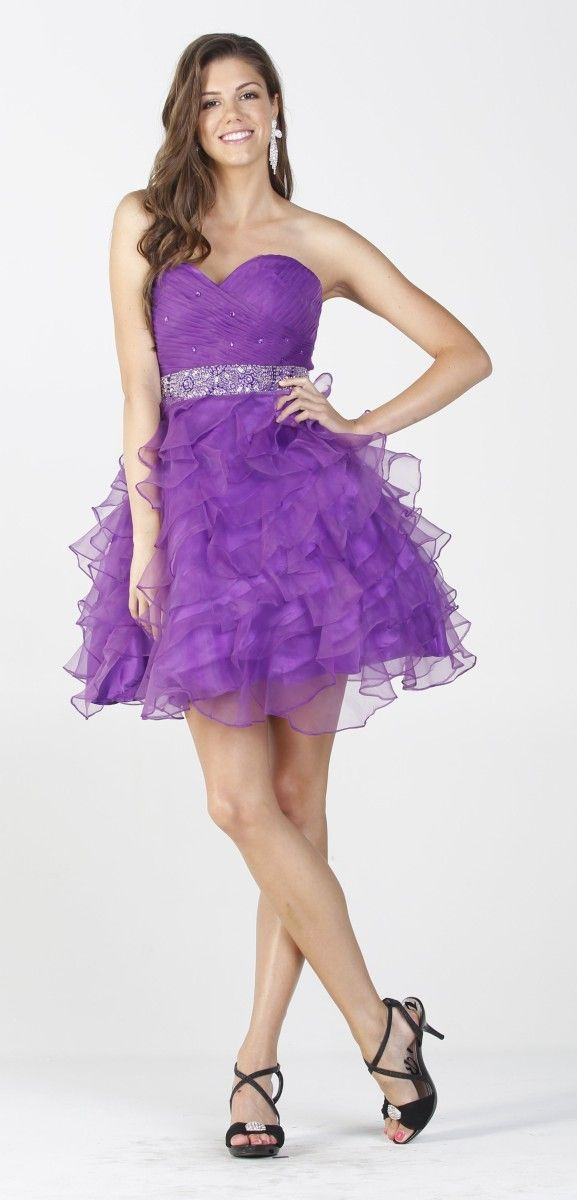 Poofy Purple Short Homecoming Dress Strapless Rhinestone Waist ...