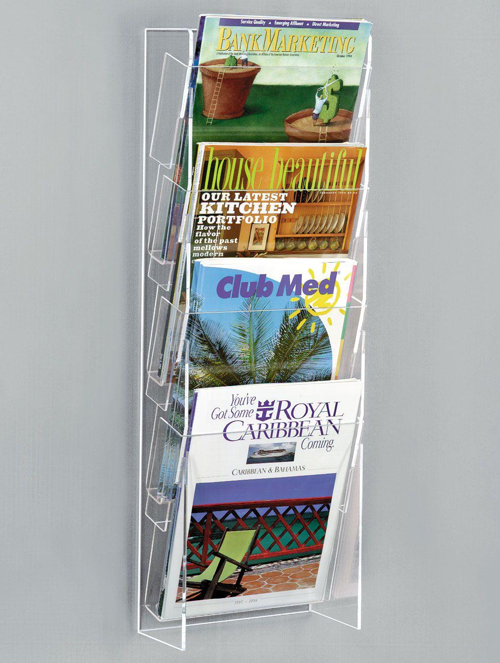 4 Tiered Acrylic Magazine Wall Rack 8 5 W 4 Pockets Clear Wall Magazine Holder Magazine Rack Magazine Wall