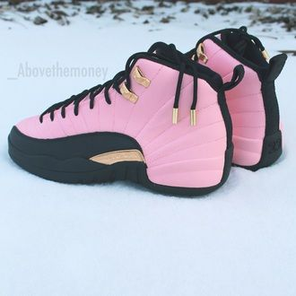 promo code 5f46f 2ab8b pink sneakers pink shoes jordans 12 high top sneakers jordans rose gold 12s air  jordan 12 jordan s shoes gold belt rose black rose gold jordan retro 12 ...