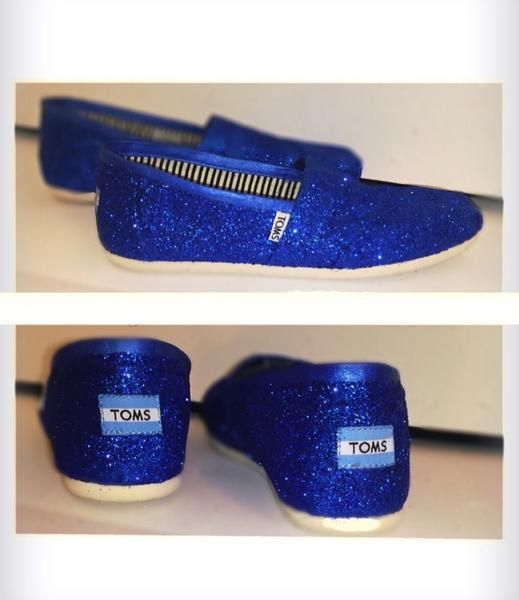 cdfaa190f6d2 Women's classic slip on Glitter Toms Royal Blue - Glitter Shoe Co ...
