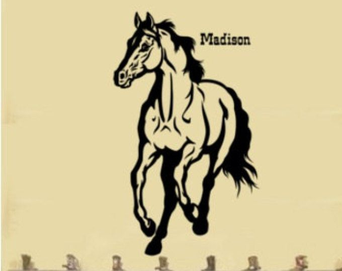 Horse-Horse Personalized, Mustang, Mustang Wall Decal, Personalized ...