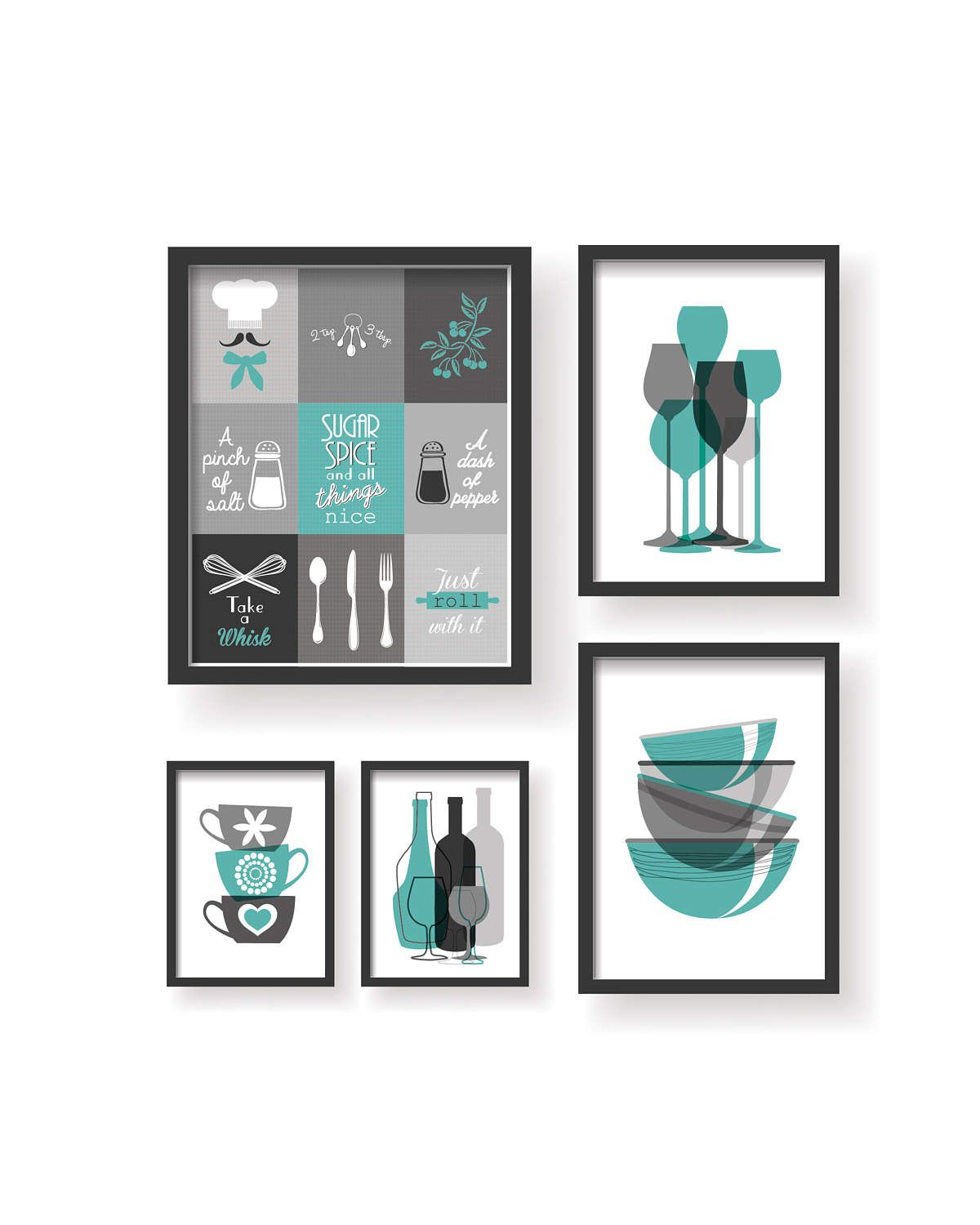 Teal Grey Modern 9 Set Kitchen Decor Prints Kitchen wall art