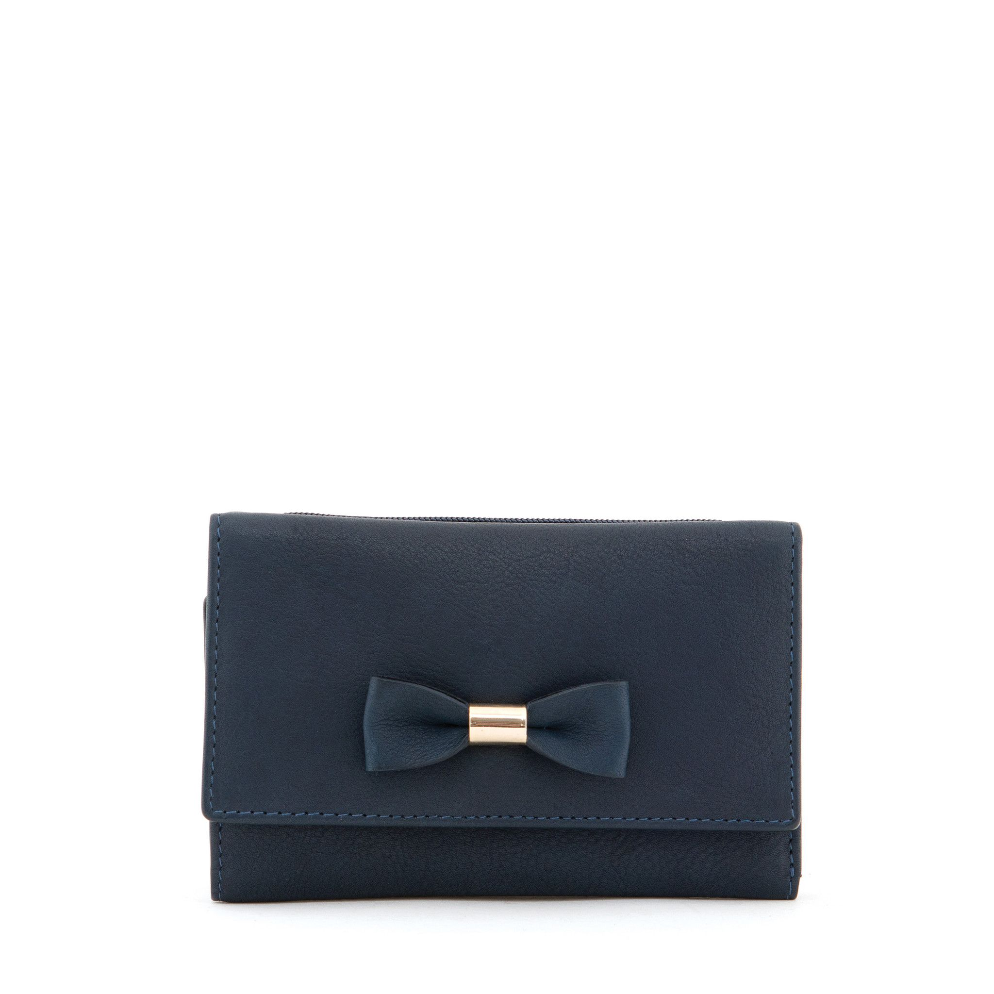 Medium Navy & Tan Leather Flap Over Bow Purse by Yoshi | Purses ...