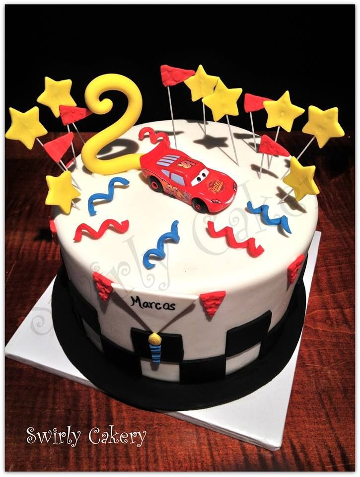 Cars Lightning McQueen cake Chocolate cake w cookies and cream
