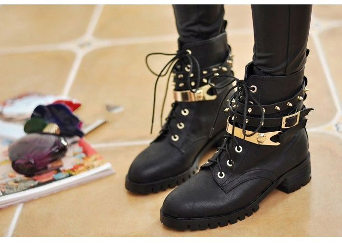 10df851736 Stylish Lace-Up Design Women's Black Studded Combat Boots, BLACK, 39 ...