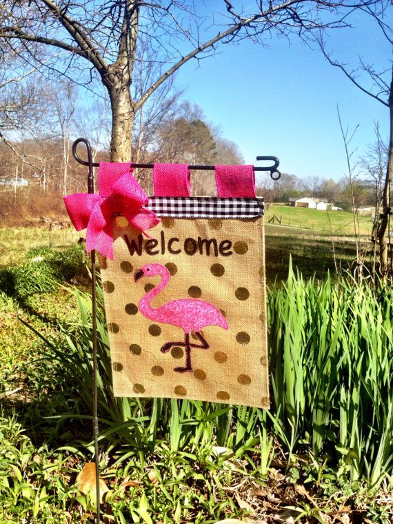 Check Out This Cute Flag!Pink Flamingo Garden Flag Summer Burlap Garden  Flag Welcome