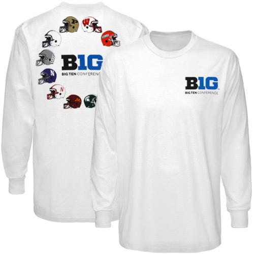354a41ae2bd Big Ten White Helmet Circle Long Sleeve T-shirt
