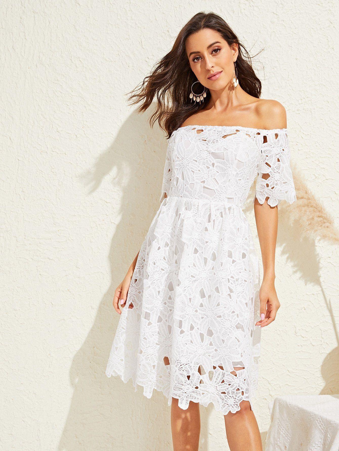 Off Shoulder Guipure Lace Solid Dress Lace Dress Lace Trim Dress Flare Dress