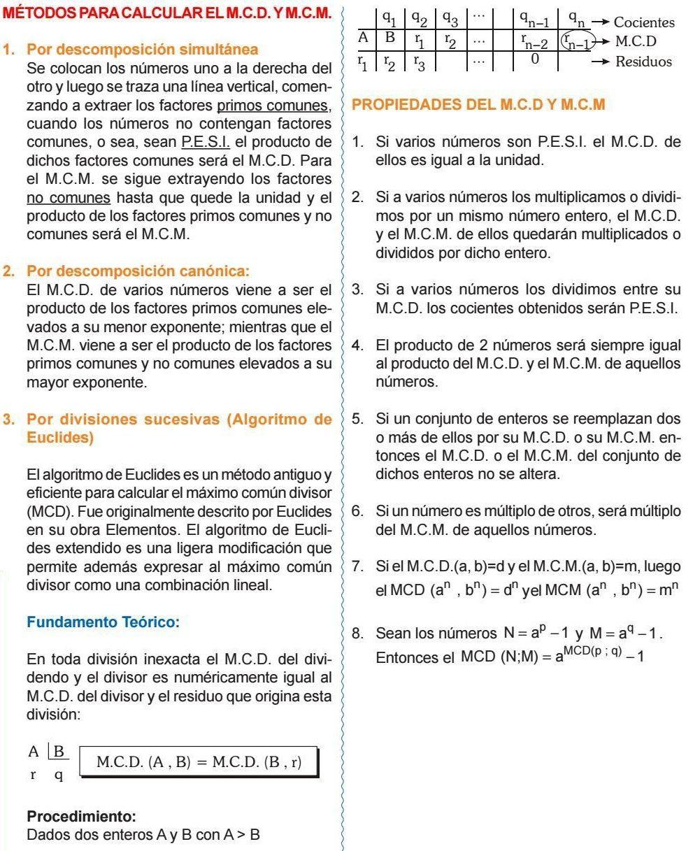 PROPIEDADES MCD Y MCM Aritmetica, Matematicas, Trigonometria