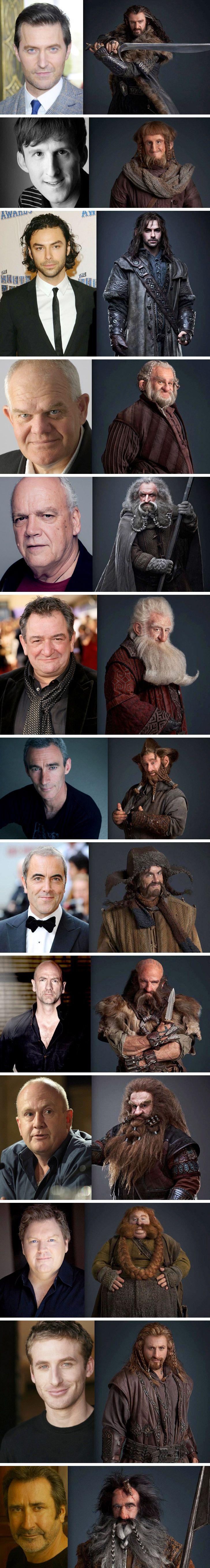 The Hobbit dwarves, pre and post make-up.  Richard Armitage as Thorin Oakenshield, Graham McTavish as Dwalin, Ken Stott as Balin, Aidan Turner as Kíli, Dean O'Gorman as Fíli, Mark Hadlow as Dori, Jed Brophy as Nori, Adam Brown as Ori, John Callen as Óin, Peter Hambleton as Glóin, William Kircher as Bifur, James Nesbitt as Bofur, Stephen Hunter as Bombur.