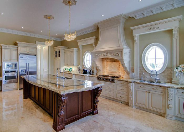 kitchen with wood corbels carved with acanthus leaf and ...
