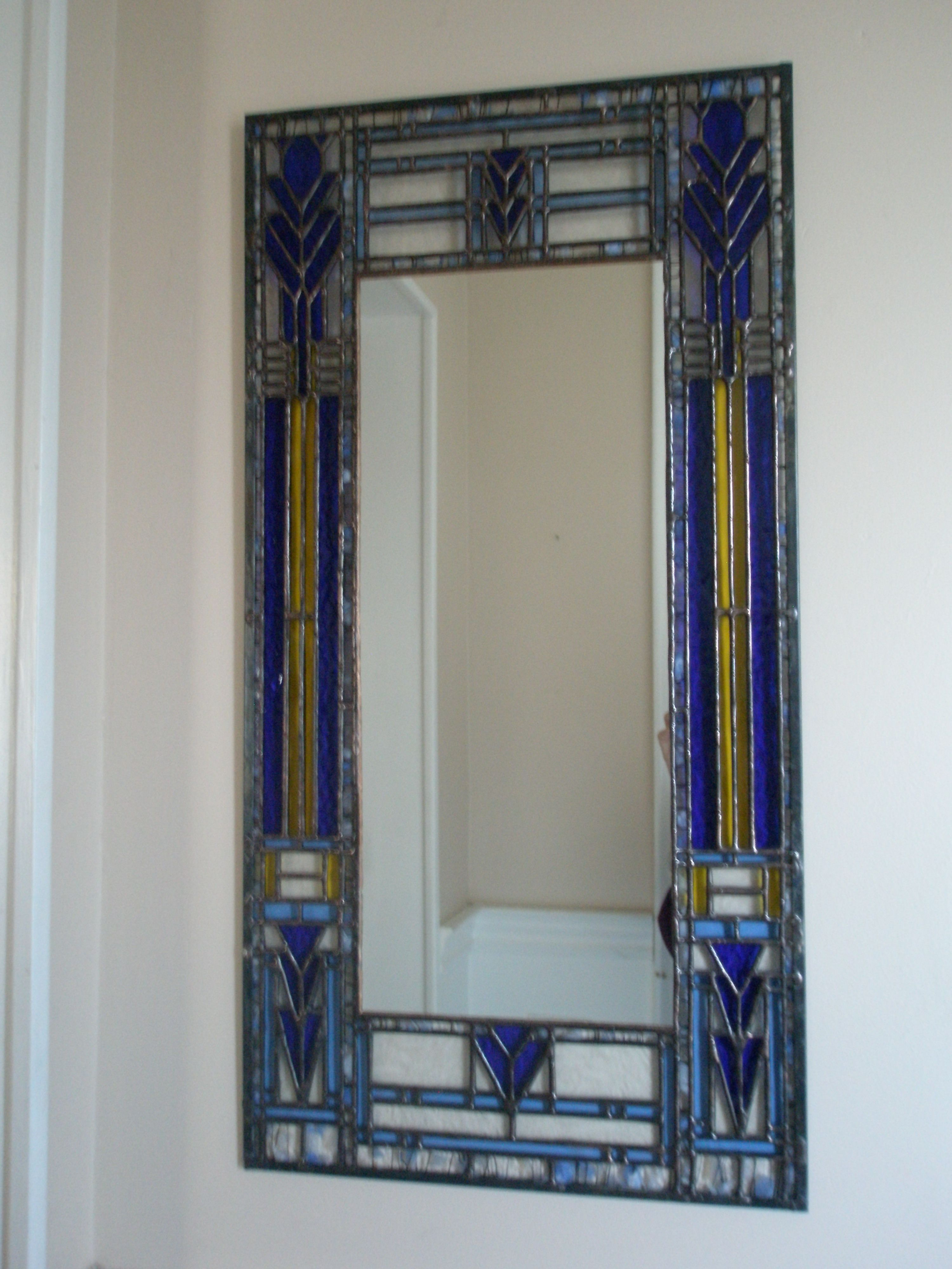 Mirror With Stained Glass Frame Inspired By Frank Lloyd Wright