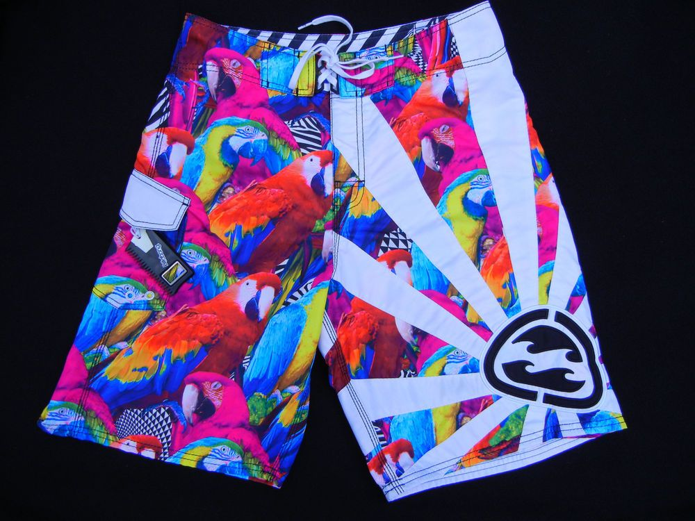 9770f6c67f Vintage BILLABONG Andy Irons RARE Parrots Rising Sun Sz 32 Wax Comb Fin Key  #Billabong #Boardshorts
