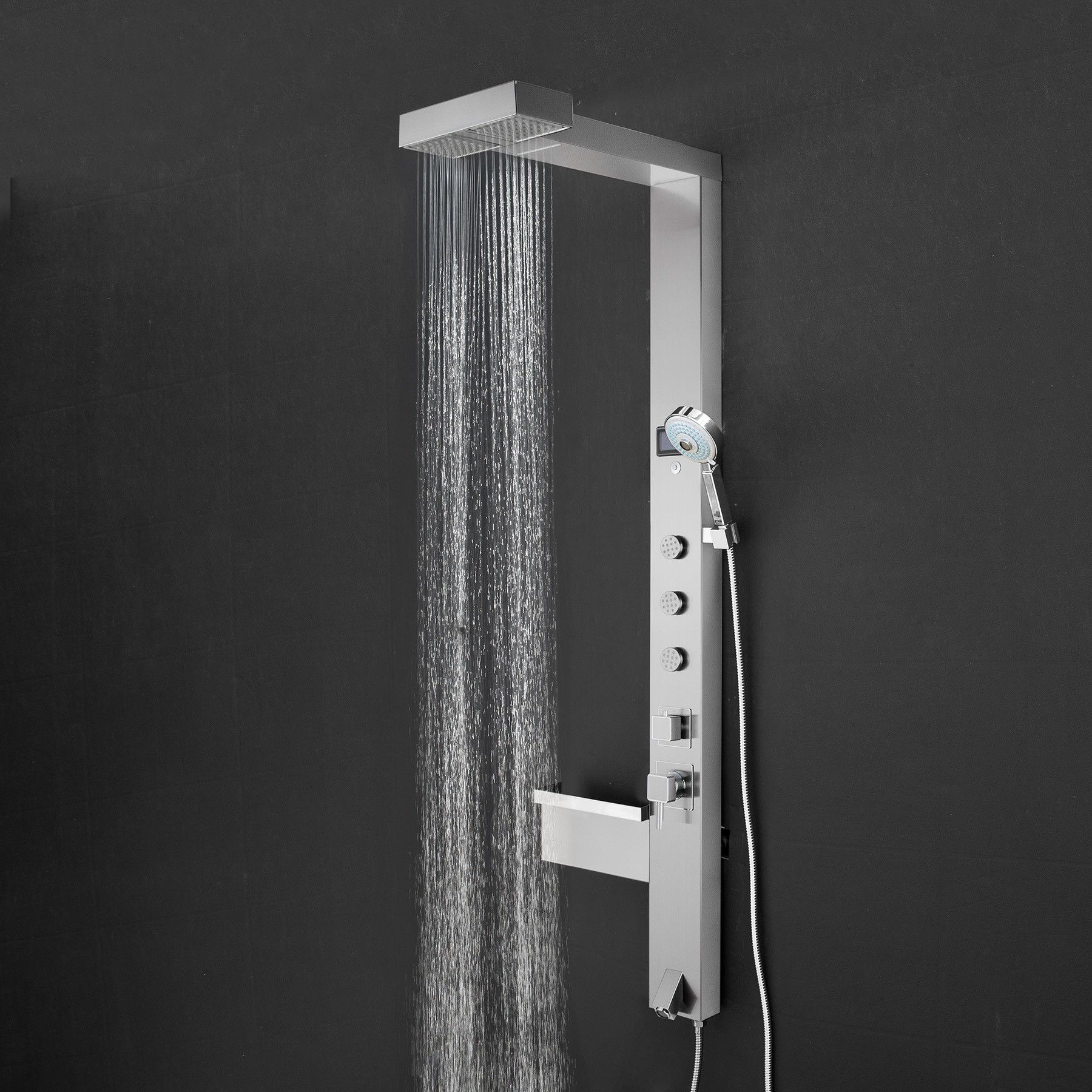 AKDY SP0011 - 59 in. 3-Jet Shower Panel System in Chrome with ...