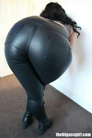 pants Big leather black in ass