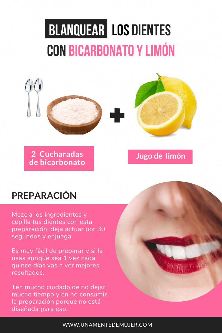 Cómo blanquear los dientes con bicarbonato y limón  – Maquillaje