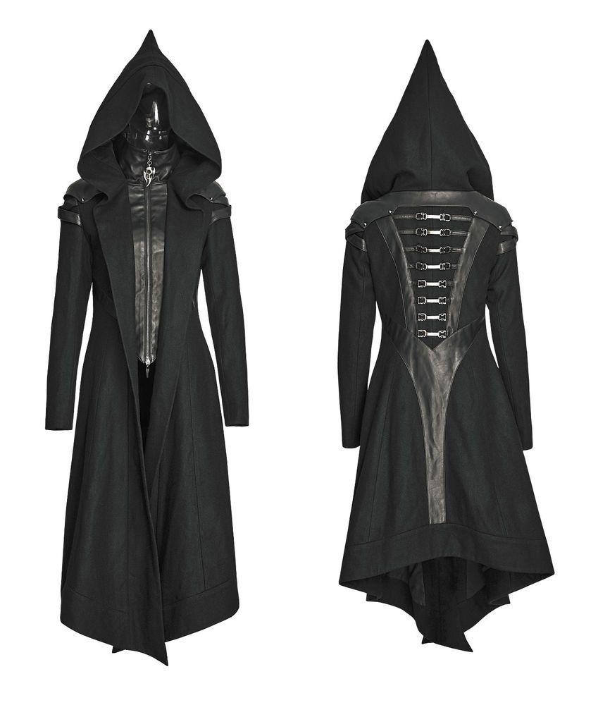 81d9adfd5f9ee8 Punk Rave Women Hooded Coat Black Goth Cosplay Cyber Steampunk Witch Long  Jacket #punkrave #Windbreaker