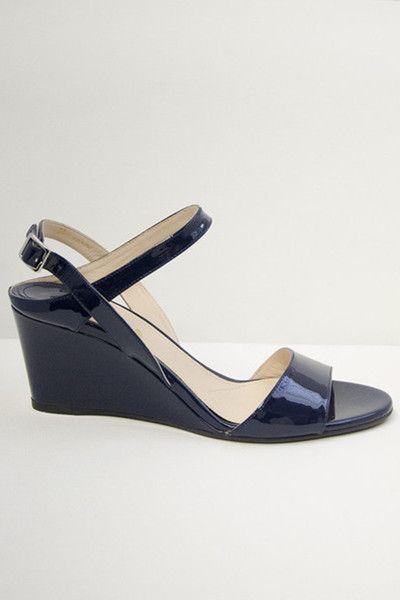 dd0c97dccd4 Prada Women s Dark Blue Patent Wedge Sandal - One Posh Closet ...