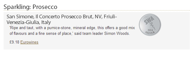 """San Simone,  Prosecco Doc Brut """"Il Concerto"""" has won a silver medal at #SommelierWineAwards 2014, London."""