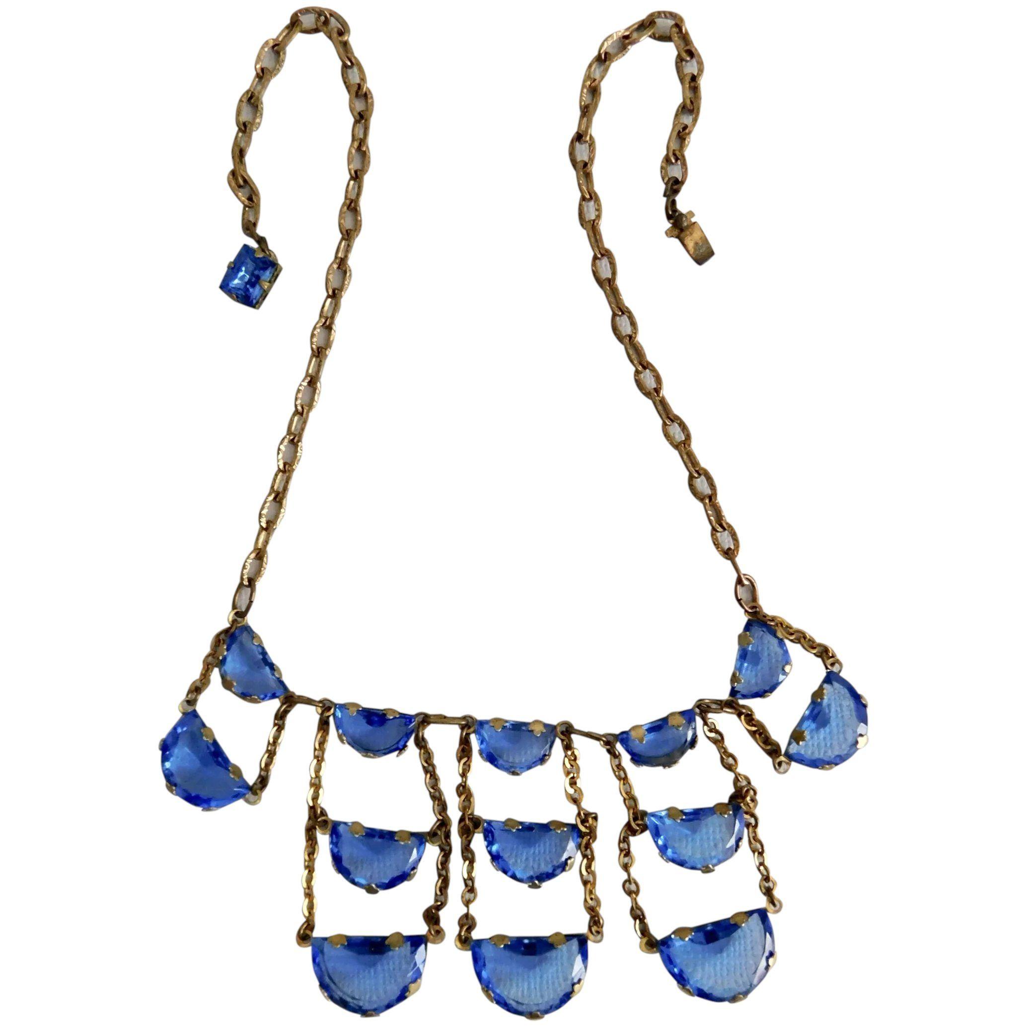 Art deco necklace art deco jewellery vauxhall glass necklace long blue original 1920s jewellery art deco original blue glass necklace