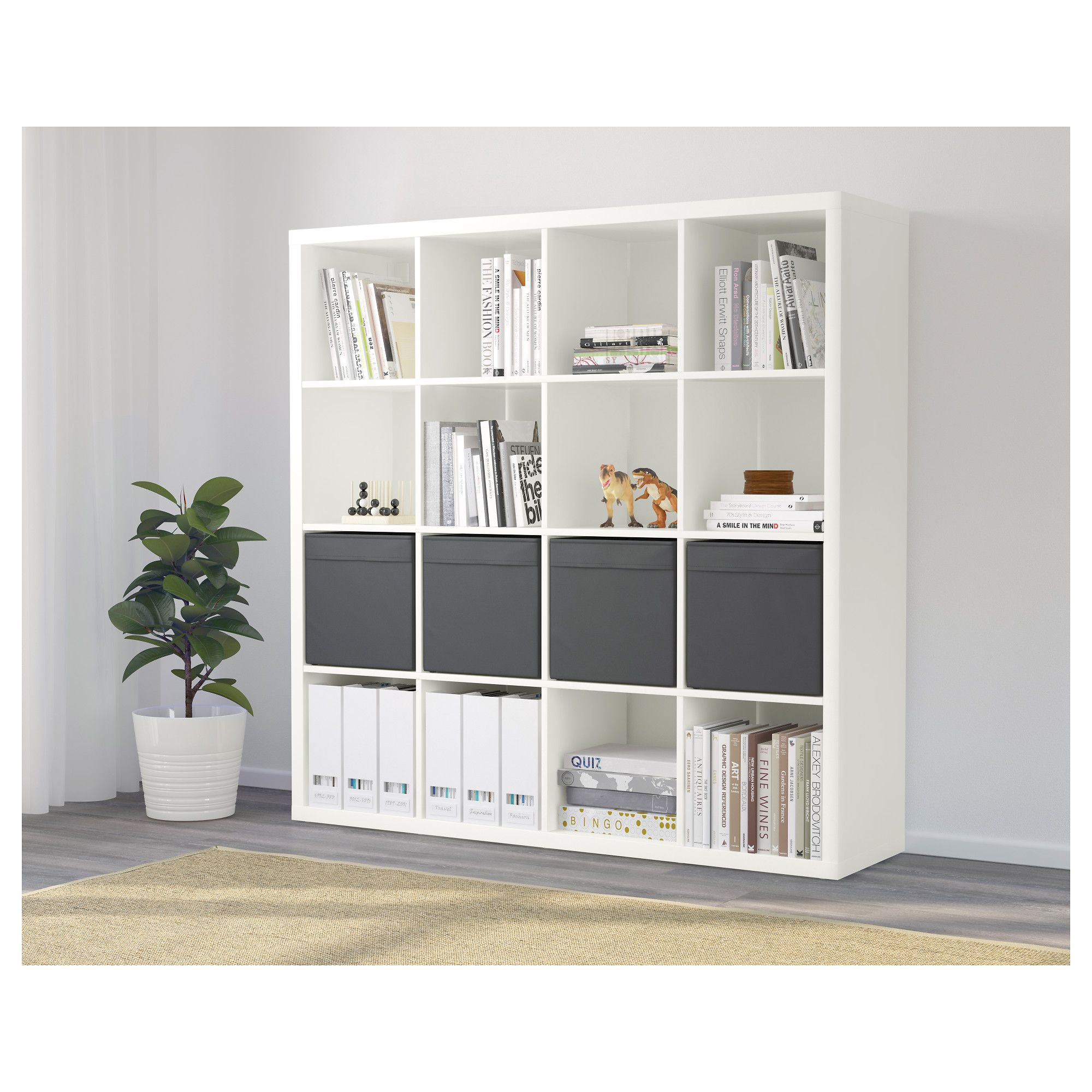 Ikea 4x4 Regal Kallax Shelf Unit With 4 Inserts White Craft Station In