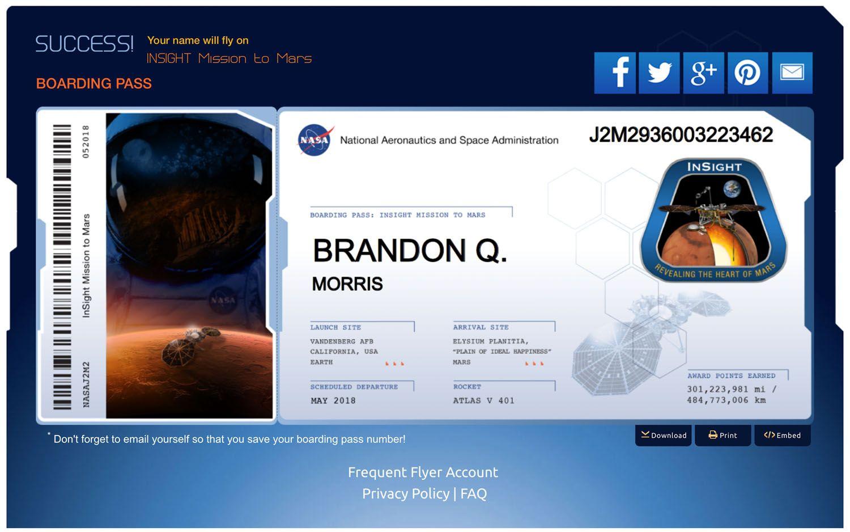 Noch bis 1. November Schicken Sie Ihren Namen zum Mars