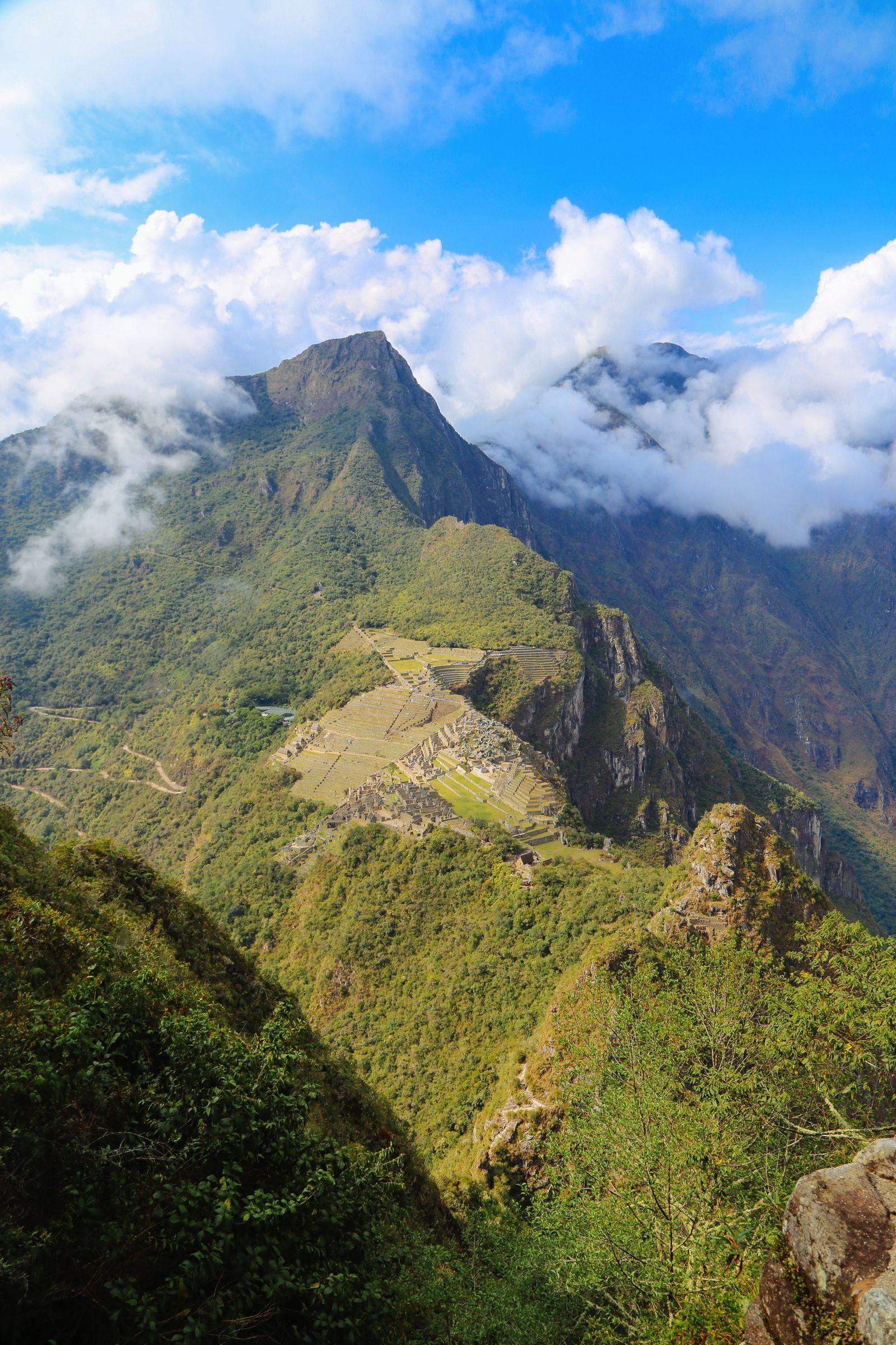 Unique view of Machu Picchu from the top of Huayna Picchu Mountain, Peru