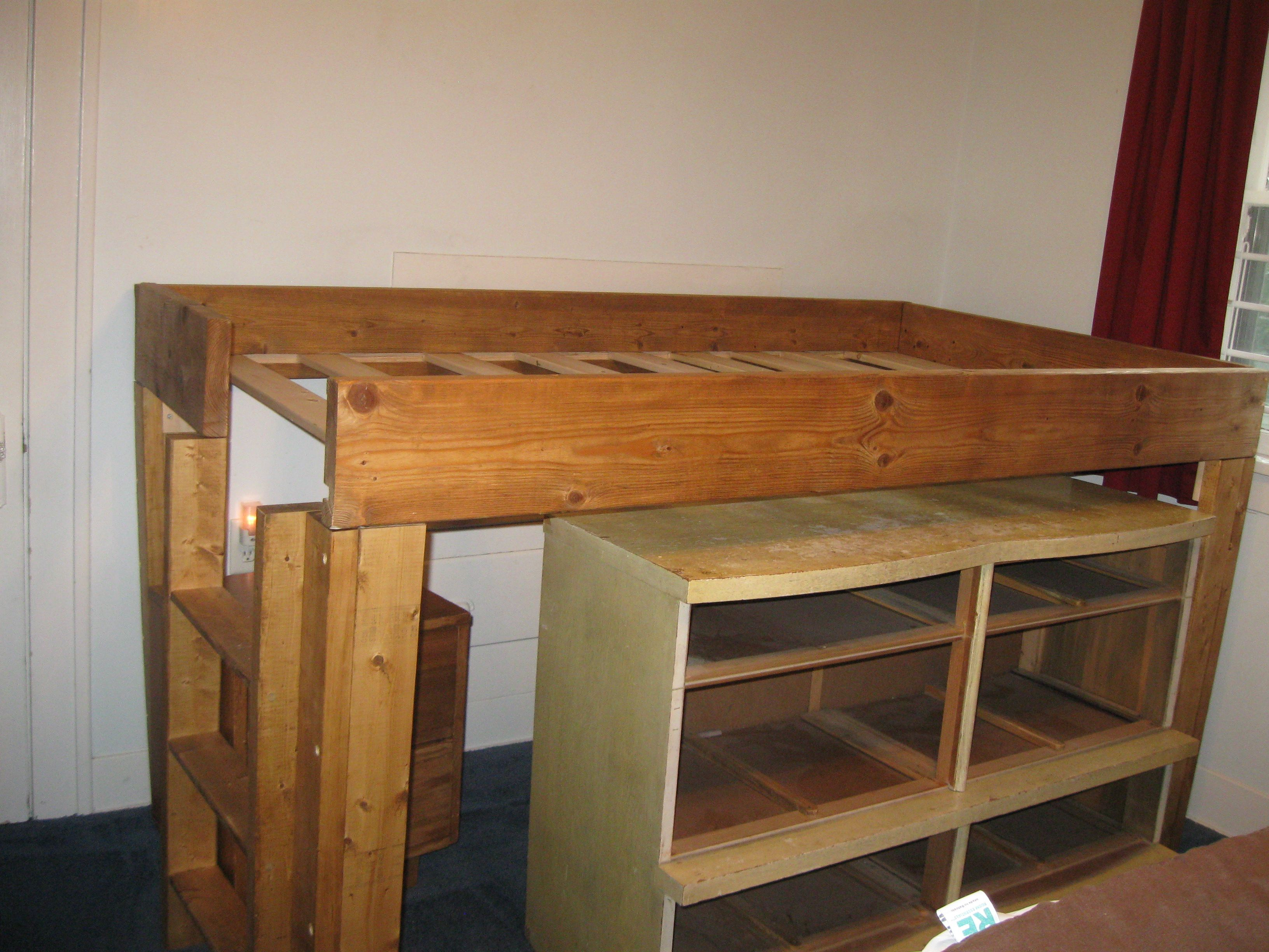 Homemade loft bed ideas  Homemade loft bed  not too tall  just right for saving space