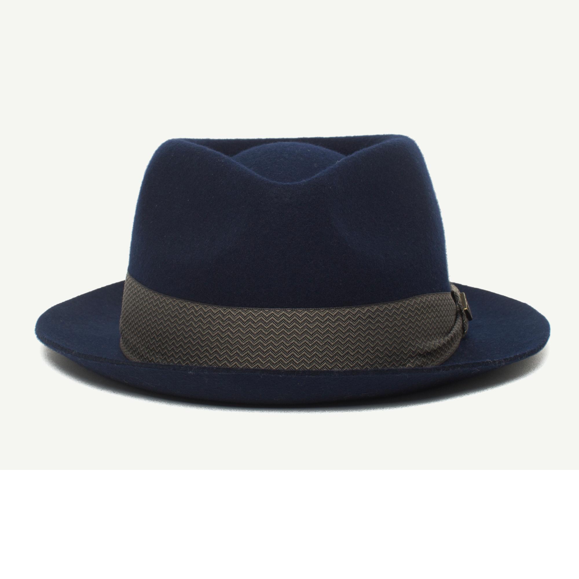 c8a57c533d80b Griffin Navy Wool Fedora Hat