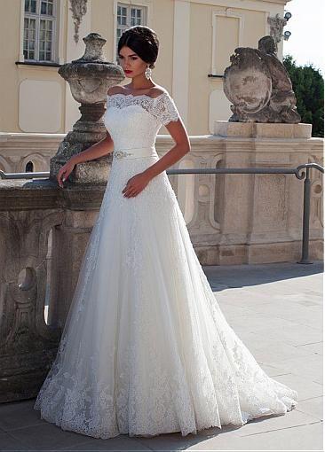 Elegant Tulle Off-the-shoulder Neckline A-line Wedding Dress With ...