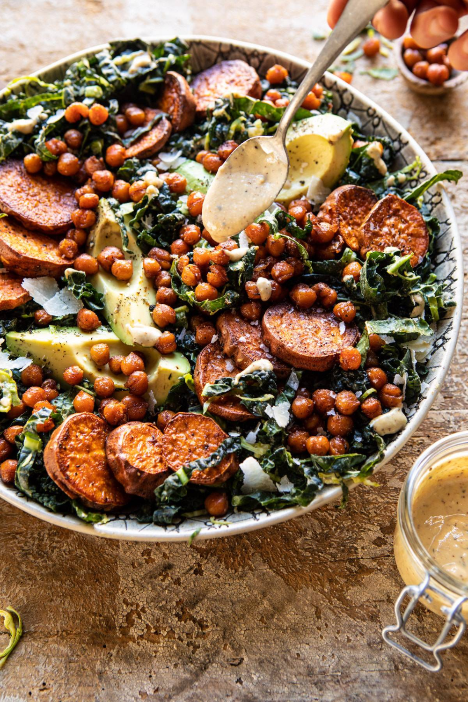 Kale Caesar Salad with Sweet Potatoes and Crispy Chickpeas. – Half Baked Harvest