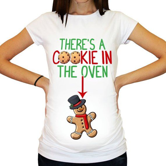 f3339e7e4e23e There's A Cookie In The Oven Maternity Shirt / Christmas Maternity Shirt /  Funny Maternity Shirt / Pregnancy Reveal / XMAS by SassabratBaby