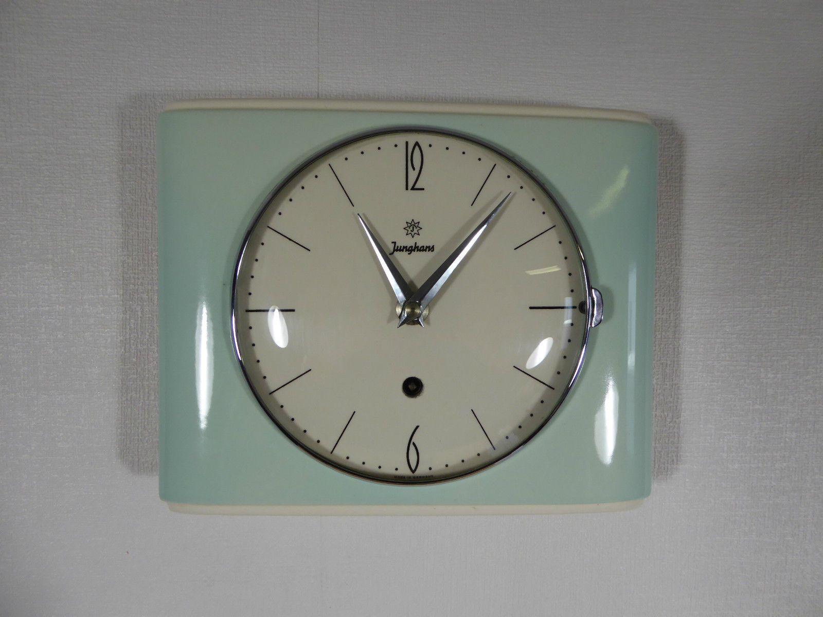 Elegante Junghans Wanduhr Kuchenuhr Porzellan Pastell 50er 60er