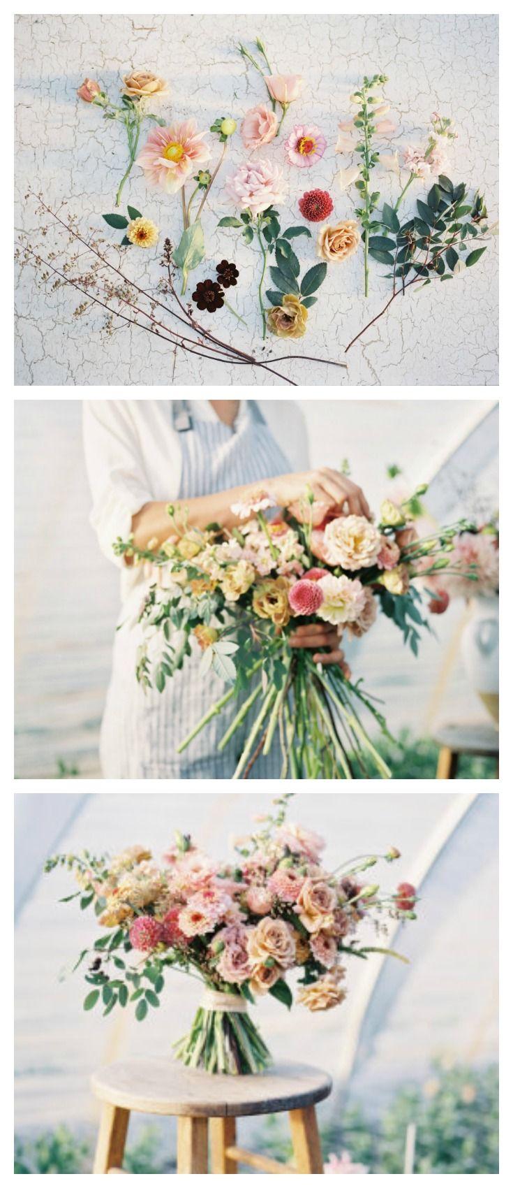 Diy hand tied garden style bridal bouquet wedding pinterest erin benzakein from floret demonstrates how to create a diy hand tied bouquet izmirmasajfo